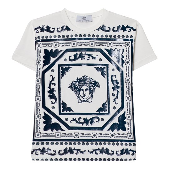 Versace White and Navy Rubberised Medusa Print Tee 2760