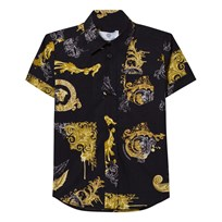 Young Versace Black and Gold Baroque Print Shirt 2785