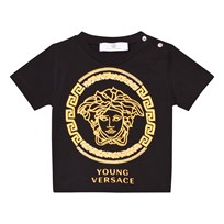 Young Versace Black and Gold Medusa Print Tee 2725