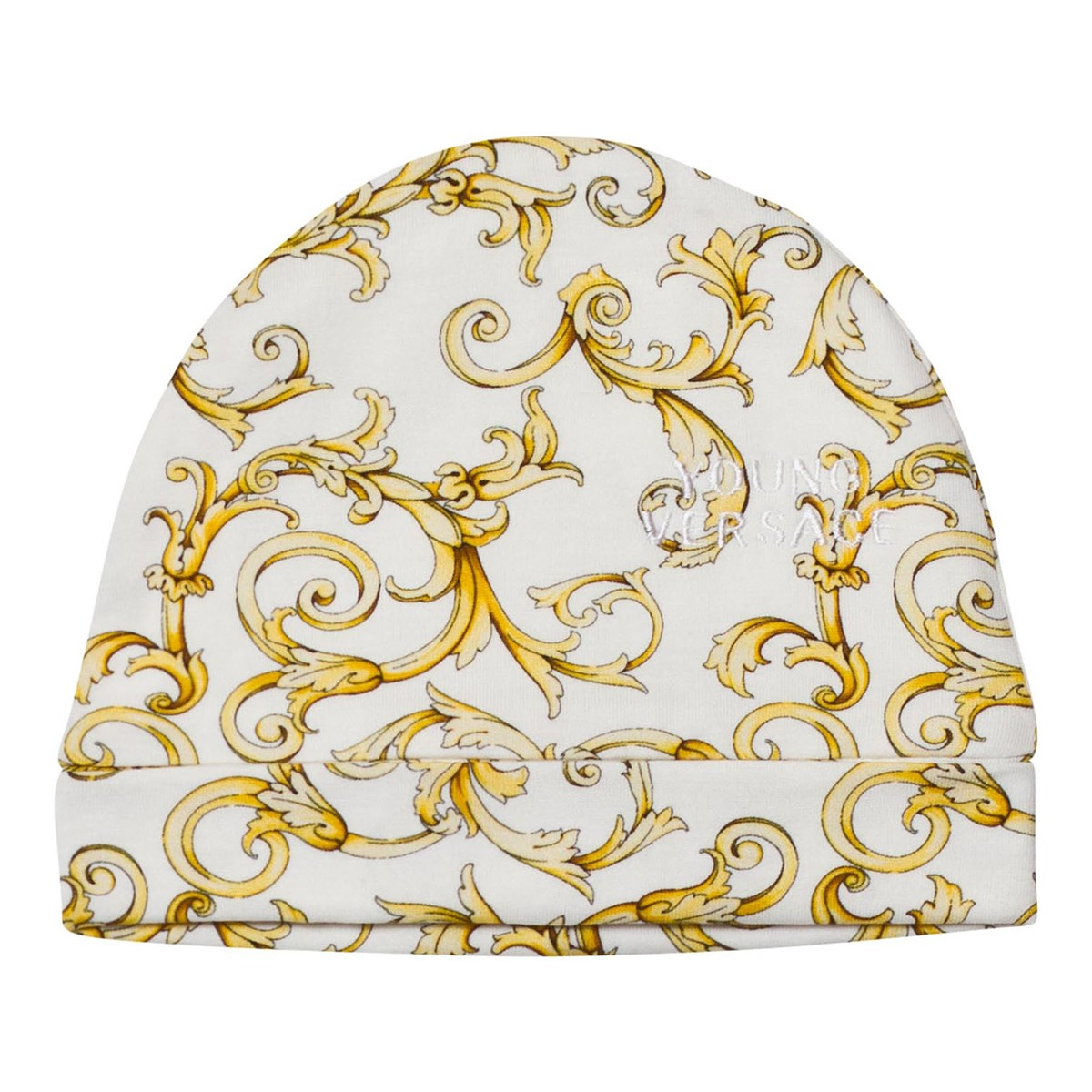 f5513b95fd Versace - White and Gold Baroque Print Footed Baby Body and Hat Gift ...