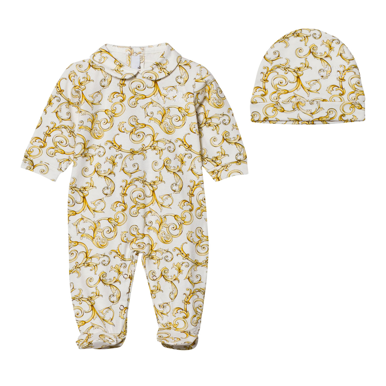 Young Versace White and Gold Baroque Print Footed Baby Body and