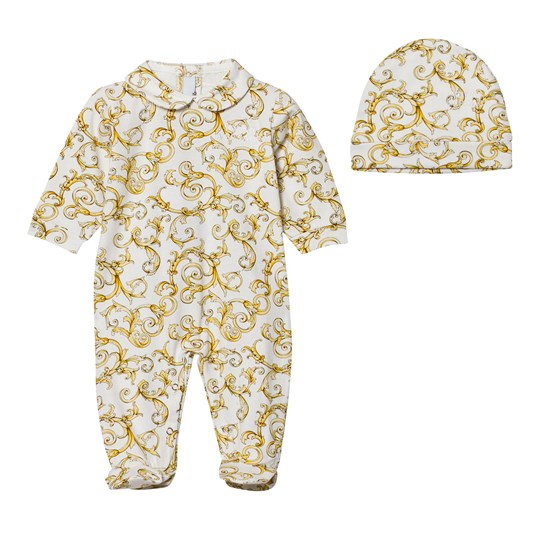 Versace White and Gold Baroque Print Footed Baby Body and Hat Gift Box 2939