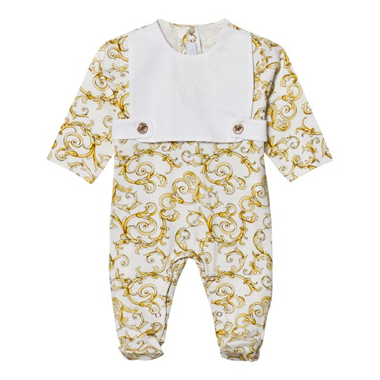Versace White and Gold Baroque Print Bib Footed Baby Body 2939