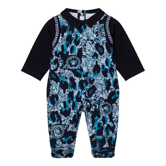 Versace Navy and Blue Baroque Medusa Footed Baby Body 2119