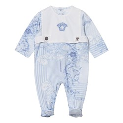 Versace Blue Stripe and Floral Bib Footed Baby Body