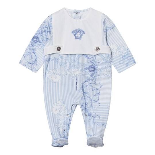 Versace Blue Stripe and Floral Bib Footed Baby Body 2907