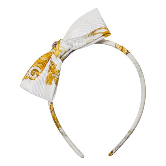 Versace White and Gold Baroque Print Bow Headband 2548