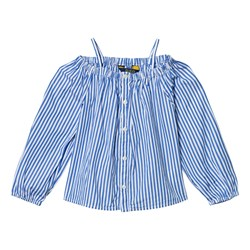 Ralph Lauren Blue and White Stripe Off the Shoulder Top