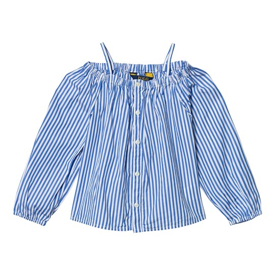 Ralph Lauren Blue and White Stripe Off the Shoulder Top 002