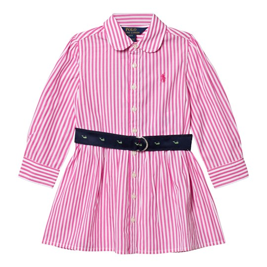 Ralph Lauren Striped Cotton Shirtdress Pink/White 001