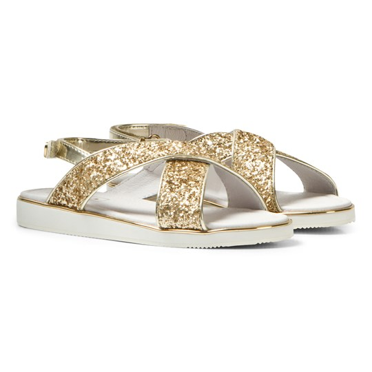 Mayoral Gold Glitter Cross-Over Velcro Sandals 73