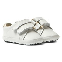 Michael Kors White and Gold Zia Baby Irina Velcro Crib Trainers White