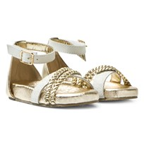 Michael Kors White and Gold Zia Marsha Mille-T Sandals Gold