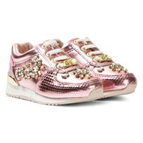 Michael Kors Pink Zia Allie Crystal-T Metallic Trainers Pink