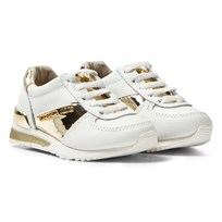 Michael Kors White and Gold Zia Allie Infants Elasticated Lace Trainers White