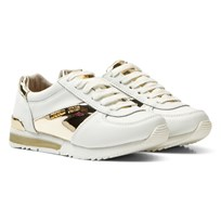 Michael Kors White and Gold Zia Allie Lace Up Trainers White