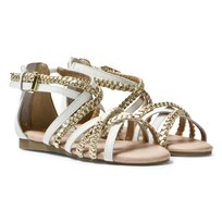 Michael Kors White and Gold Zia Demi Ayla Strappy Sandals White