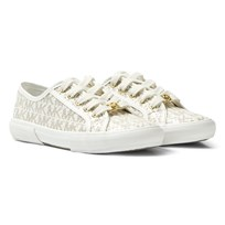 Michael Kors White Branded Perforated Trainers Vanilla