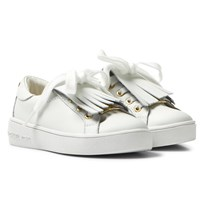 Michael Kors White Zia Ivy Kiltie Infants Leather Fringe Trainers White