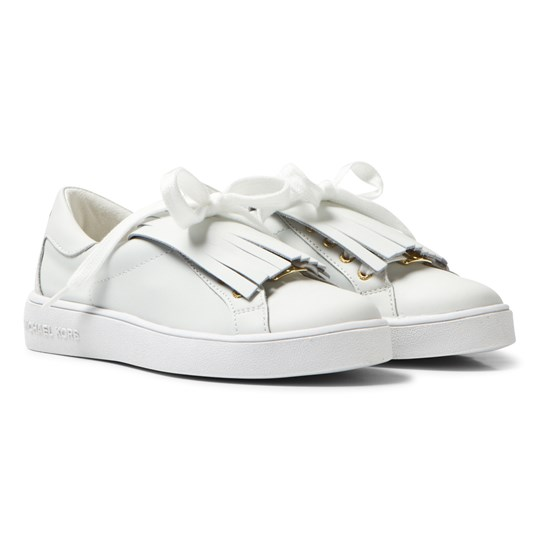 Michael Kors White Zia Ivy Kiltie Leather Fringe Trainers White