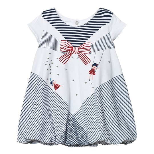 Catimini White, Navy and Red Printed Jersey Dress 01