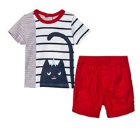 Catimini Red, Navy and White Cat Print Tee and Short Set 01