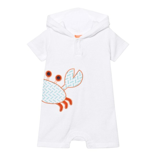 Sunuva Infants Little Crab Towelling Onesie White