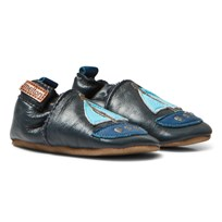 Melton Sailboat Leather Crib Shoes Blue Nights Blue Nights