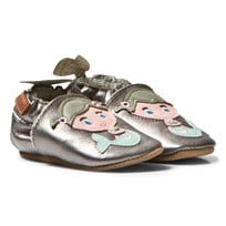 Melton Mermaid Leather Crib Shoes Silver Silver