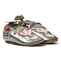 Melton Mermaid Leather Crib Shoes Silver Hopea