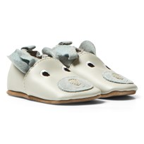 Melton Leather Crib Shoes With Ears Starlight Blue Starlight Blue