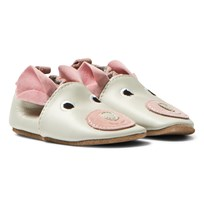 Melton Leather Crib Shoes With Ears Chintz Rose Chintz Rose