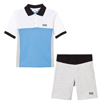 BOSS Grey and Blue Pique Polo and Shorts Set A89