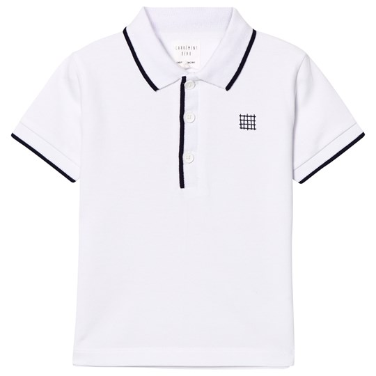Carrément Beau White and Navy Pique Polo 10B