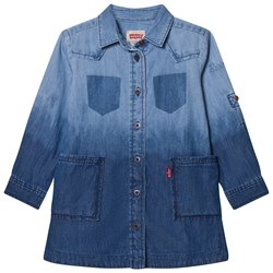 Levi's Kids Mid and Light Wash Dip Dyed Denim Klänning