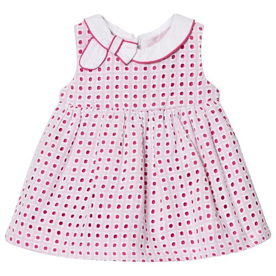 Mayoral Pink and White Eyelet Dress with Bow Detail 19