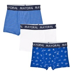 Mayoral 3 Pack of Blue and White Stripe, Solid and Pattern Trunks