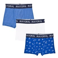 Mayoral 3 Pack of Blue and White Stripe, Solid and Pattern Trunks 59