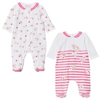 Mayoral 2 Pack of Footed Baby Body Pink White Puppy Stripe 65