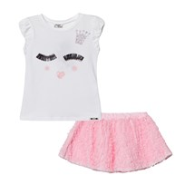 Mayoral White Face and Diamante Applique Tee and Ruffle Skirt Set 20