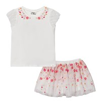 Mayoral White and Floral Embroidered Tulle Top and Skirt Set 27