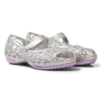 Crocs Silver Infants Isabella Glitter Shoes 0R2 Silver/Iris