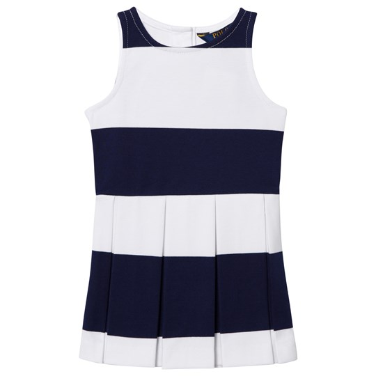 Ralph Lauren Striped Sleeveless Ponte Dress Navy 001