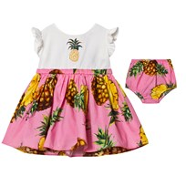 Dolce & Gabbana White Pineapple Applique Dress HF716