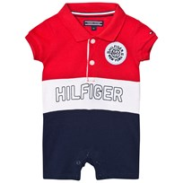 Tommy Hilfiger Red and Navy Pique Branded Romper 699