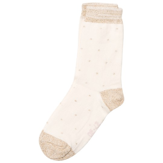 Melton Socks With Small Dots And Lurex Off White Hvid