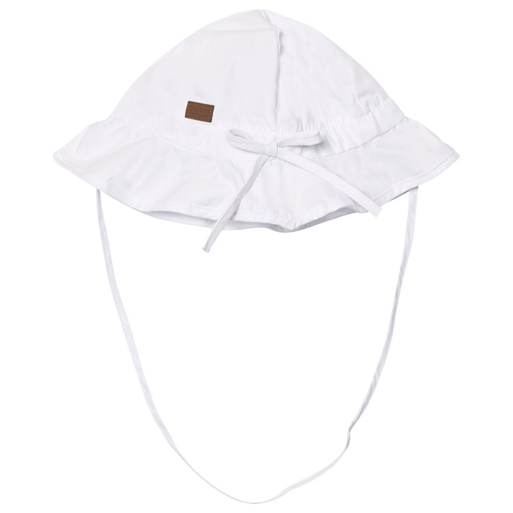 Melton Hat With Brim And Bow Solid White Babyshop.no
