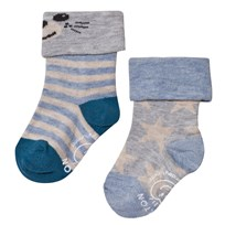 Melton 2-pack Baby Star Socks Aqua Aqua