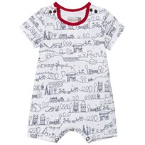 Catimini Red and White Paris Scrible Shortall 01