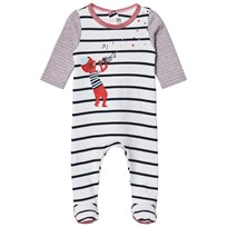 Catimini White, Navy and Red Stripe and Cat Print Babygrow 01